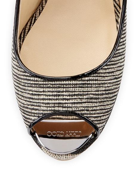 Prova Striped Slingback Wedge Sandal, Beige/Black