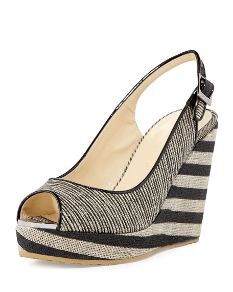 Jimmy Choo Prova Striped Slingback Wedge Sandal, Beige/Black