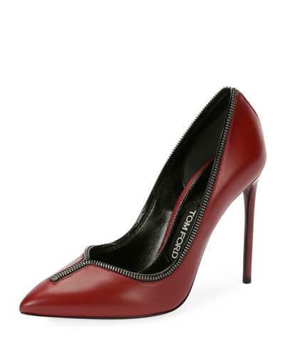 Zipper-Trim Leather 105mm Pump, Wine