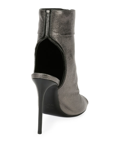 Metallic Karung Open-Toe Zip Bootie, Gray