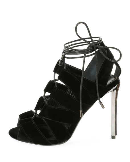 Velvet Cutout Lace-Up Sandals, Black