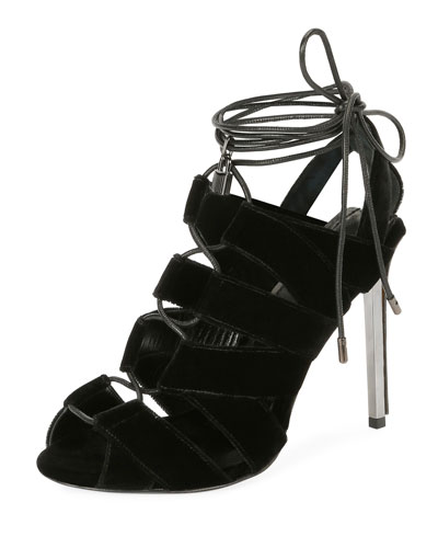 Velvet Cutout Lace-Up Sandal, Black