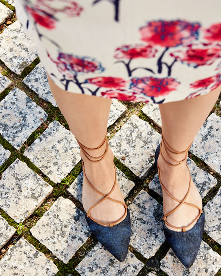 Gilligan Lace-Up d'Orsay Flat, Navy