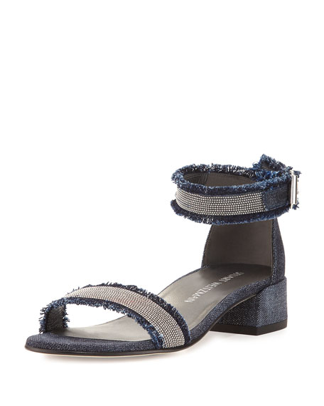 Stuart Weitzman Nudistchains Denim Ankle-Wrap Sandal, Navy