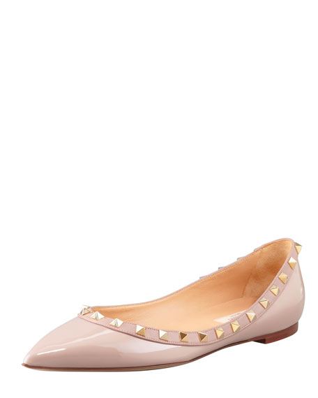 Rockstud Patent Ballerina Flat, Poudre