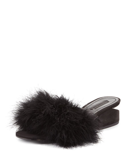 Lou Marabou Feather Sandal, Black