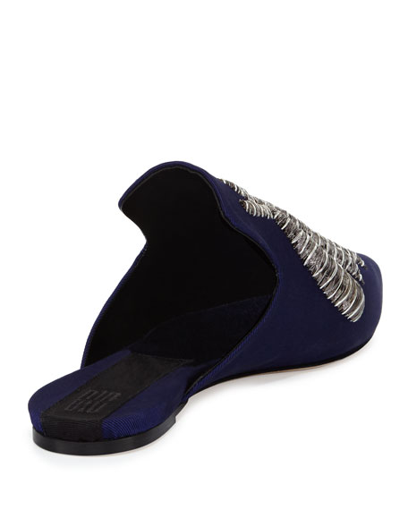 Ragno Spider Embroidered Mule, Cobalt