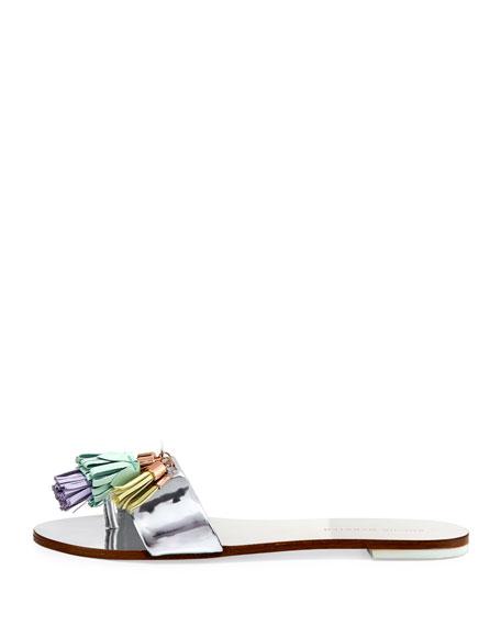 Jada Flat Tassel Slide Sandal, Silver