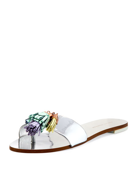 Sophia Webster Jada Flat Tassel Slide Sandal, Silver
