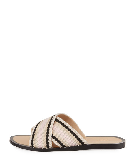 Keaton Crisscross Flat Slide Sandal, Red/Multi