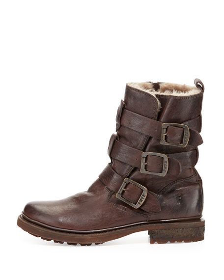Valerie Shearling-Lined Buckle Boot
