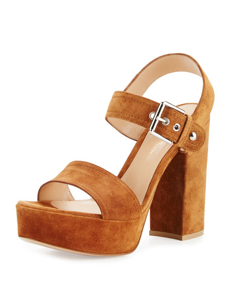 Suede Two-Band Platform Sandal, Tan