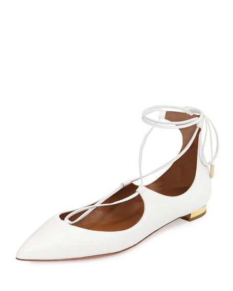 Aquazzura Christy Lace-Up Pointed-Toe Flat, White