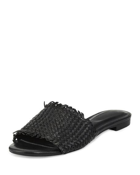 Joie Fadey Woven Flat Slide Sandal, Black