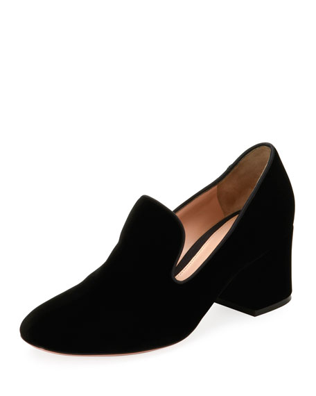 Gianvito Rossi Velvet Notched 50mm Loafer Pump, Black