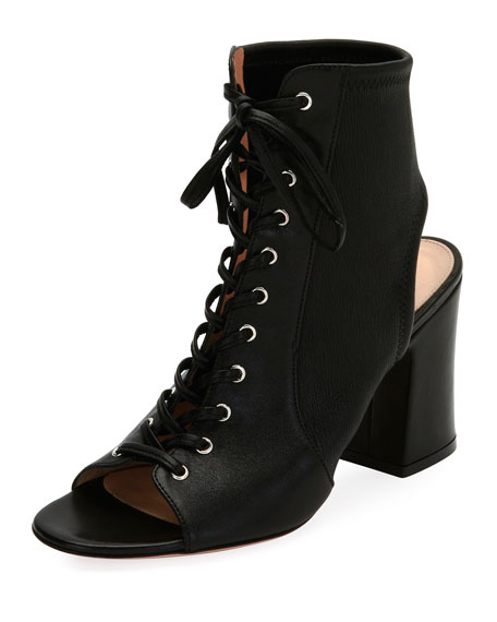 Gianvito Rossi Lace-Up Stretch Napa Open-Toe Bootie, Black