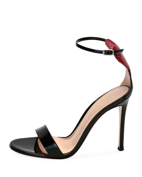 Love Heart Patent 105mm Sandals, Black/Red