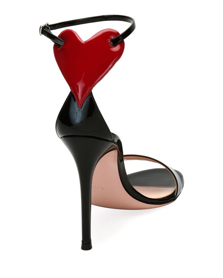 Love Heart Patent 105mm Sandal, Black/Red