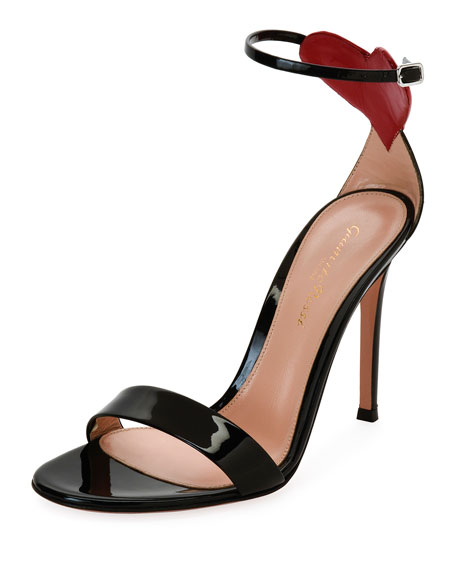 Gianvito Rossi Love Heart Patent 105mm Sandal, Black/Red