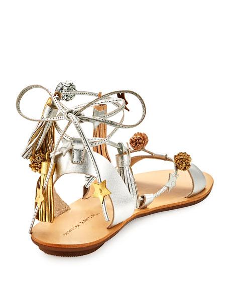 Suze Tassel Pompom Flat Sandal, Silver