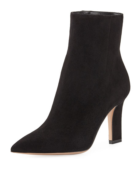 Gianvito Rossi Point-Toe Suede Zip Bootie, Black