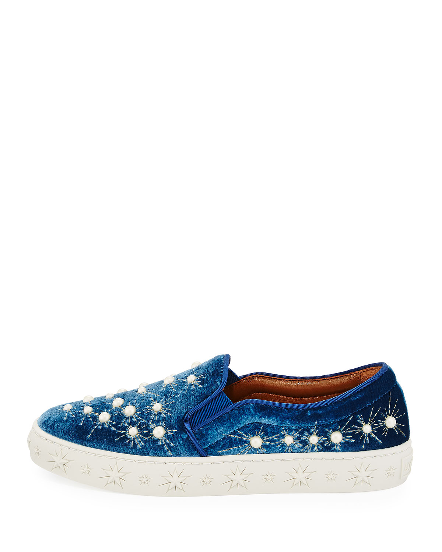 Aquazzura Cosmic Pearls Slip-On Sneakers, Ocean Blue