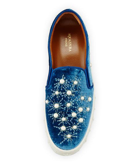 Cosmic Pearls Slip-On Sneaker, Ocean Blue