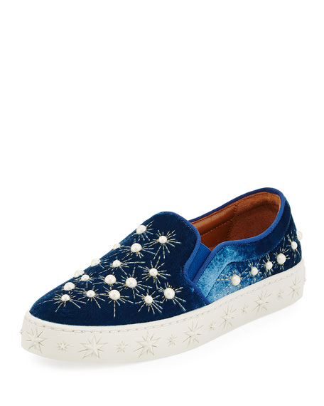 Aquazzura Cosmic Pearls Slip-On Sneaker, Ocean Blue