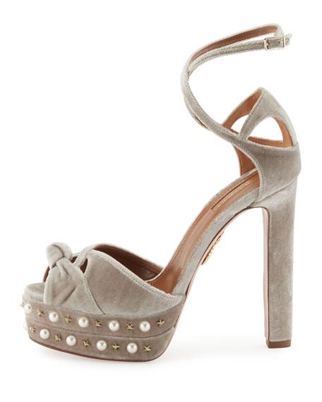 Harlow Pearls Velvet Platform Sandals, Light Gray