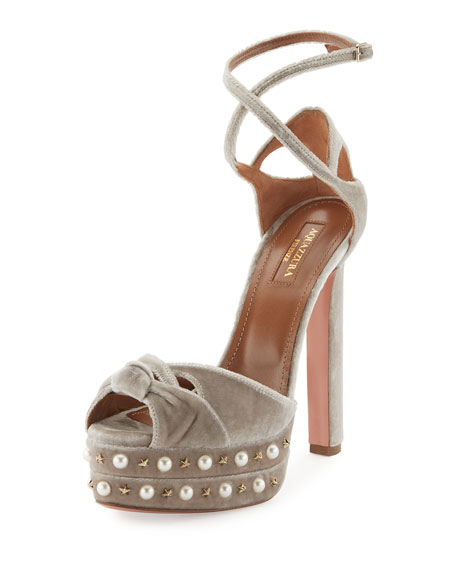 Aquazzura Harlow Pearls Velvet Platform Sandal, Light Gray