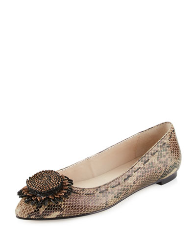 Bibbi Flower Python-Print Flat, Brown