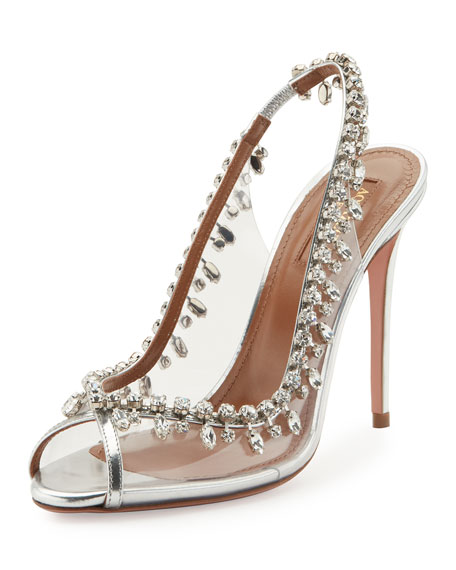 Aquazzura Temptation Crystal Slingback Sandals, Silver