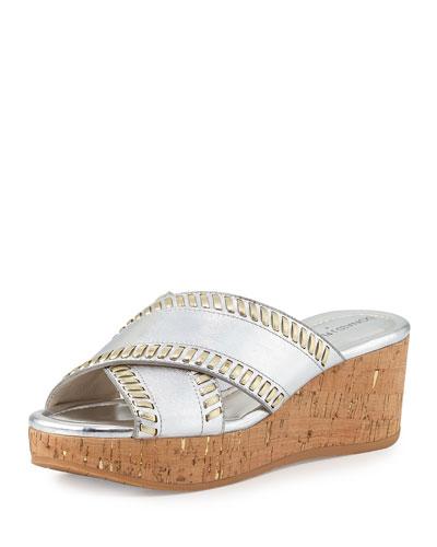 donald j pliner outlet 7wjt  Savee Whipstitch Cork Wedge Sandal, Silver