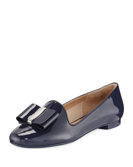 Salvatore Ferragamo Patent Bow Loafer, Navy