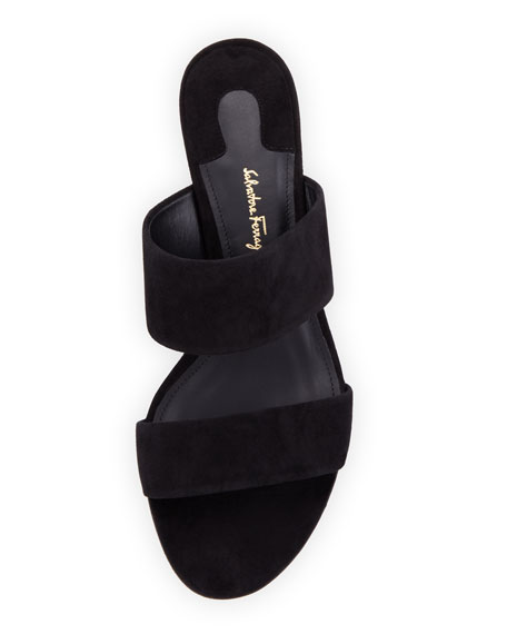 Belluno Suede Two-Band Mule Sandals, Black
