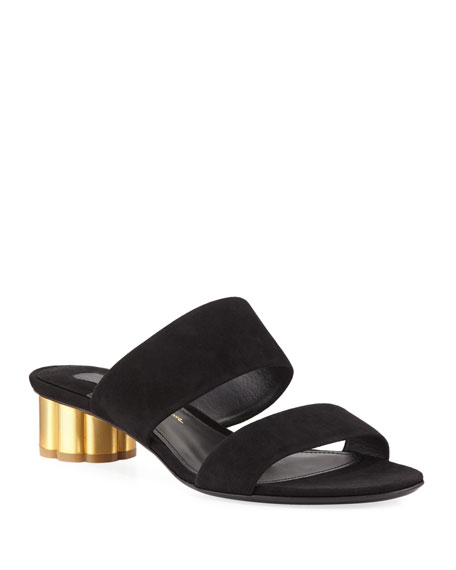 Suede Two-Band Mule Sandal, Black