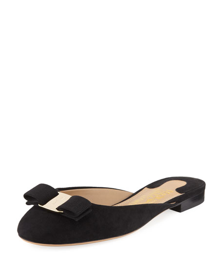 Salvatore Ferragamo Bow Suede Flat Slide, Black