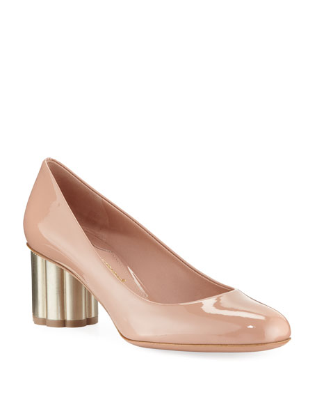 Women'S Lucca Patent Leather Floral Heel Pumps in Pink