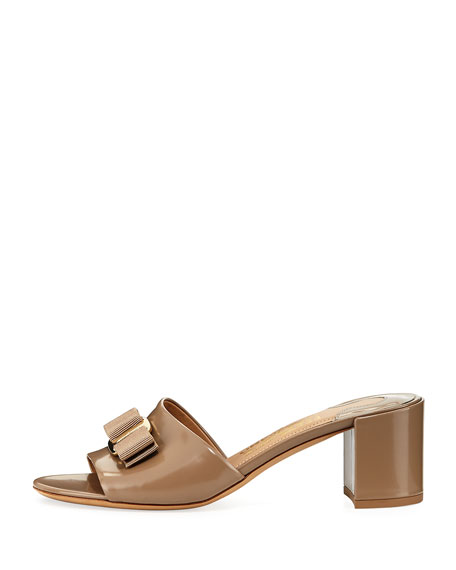 Patent Bow Mule Sandal, Nude