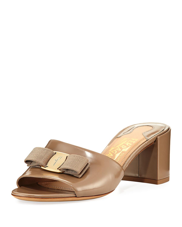 Salvatore Ferragamo Patent Bow Mule Sandal f60deb2b915c7