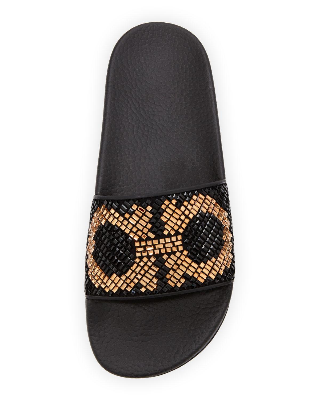 0cdb0c5aa550d1 Salvatore Ferragamo Crystal Flat Slide Sandal