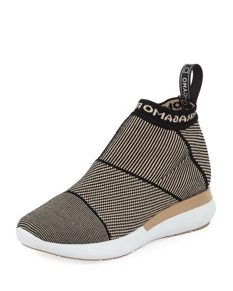Salvatore Ferragamo Knit-Stretch Sock Sneaker, Nude