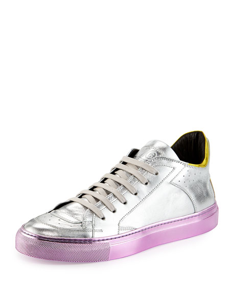 Mid-Top Lace-Up Sneaker with Colored Sole, Silver/Multi