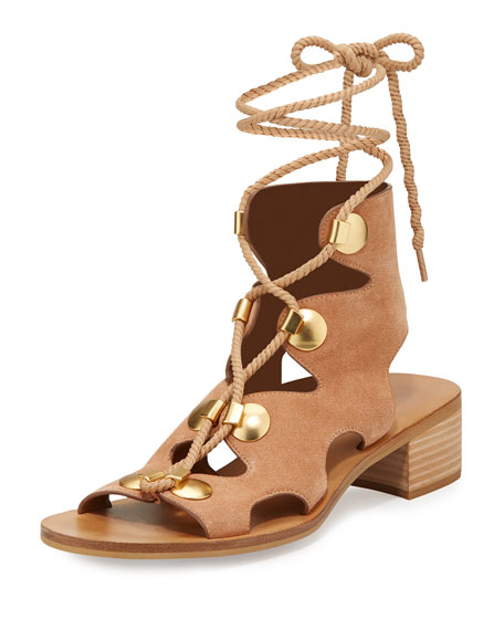 See by Chloe Edna Suede Lace-Up Sandal, Cipria