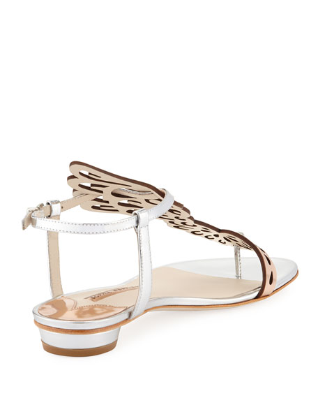 Seraphina Angel Wings Flat Sandal, Rose Gold