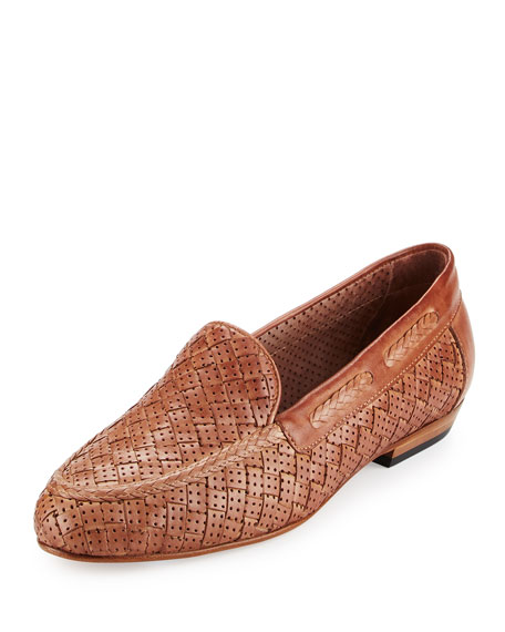 Sesto Meucci Nellie Perforated Woven Flat Loafer, Beige