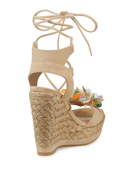 Cake Beaded Wedge Espadrille Sandal, Beach