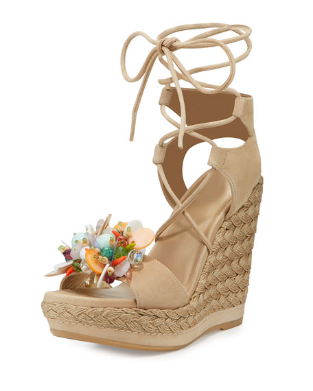 Stuart Weitzman Cake Beaded Wedge Espadrille Sandal, Beach