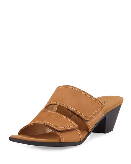 Sesto Meucci Paidyn Leather Low Slide Sandal, Beige