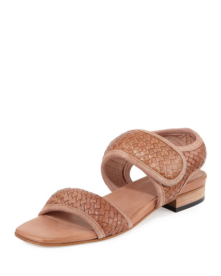 Sesto Meucci Gryta Woven Leather Flat Sandal, Beige